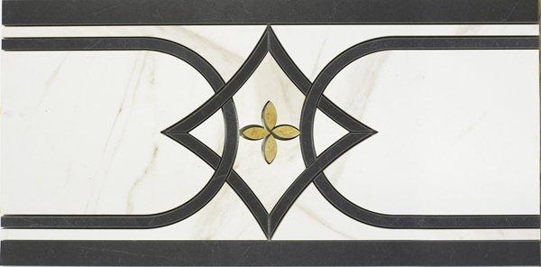 Bordürenfliese Marazzi Evolutionmarble calacatta nero 29 x 58 cm