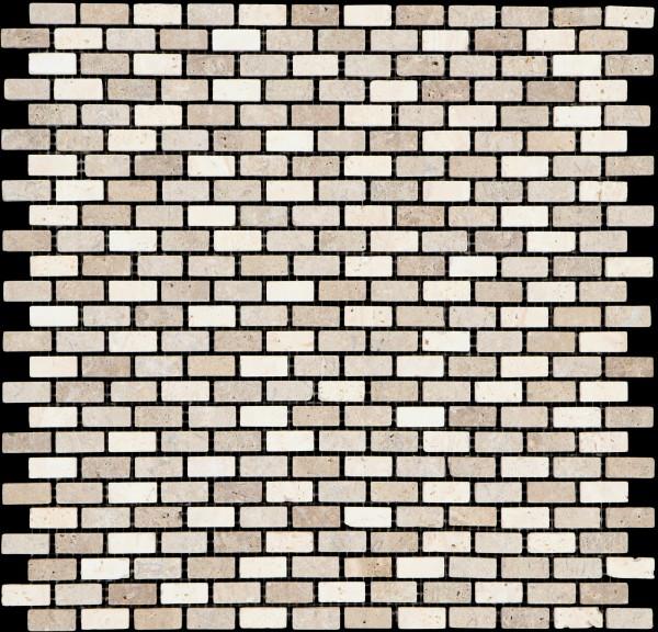 Mosaikfliese Brick travertino noce classic 30 x 30 cm