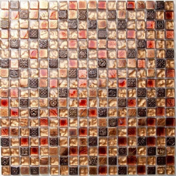 Mosaikfliese Toronto rot gold braun 30 x 30 cm