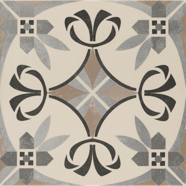 Bodenfliese Pamesa Arte Sysley grau-schwarz 22,3 x 22,3 cm