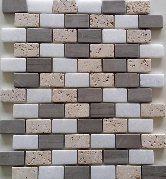 Mosaikfliese Athens grey Brick 30 x 30 cm