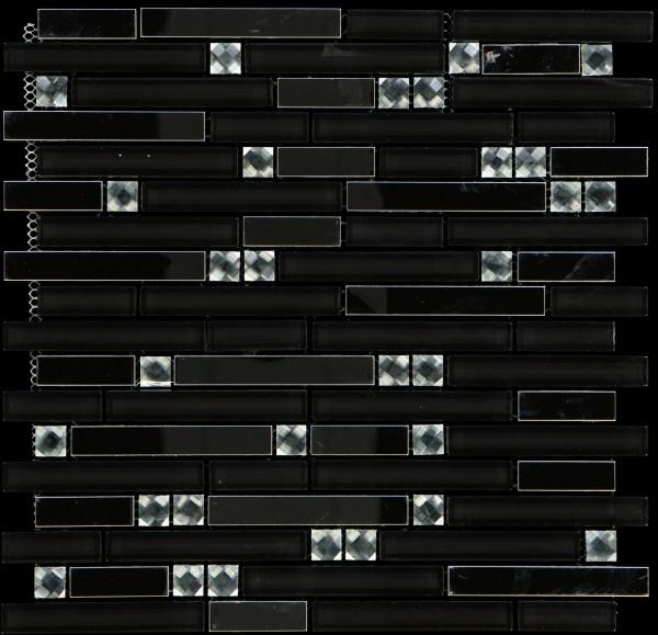 Mosaikfliese Diamond black/silver 803 29,8 x 30,4 cm