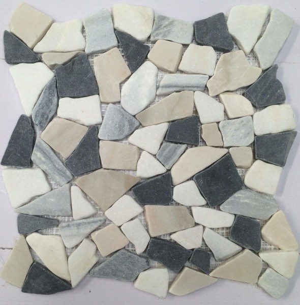 Mosaikfliese Bruch black-beige PEB-04 29 x 29 cm