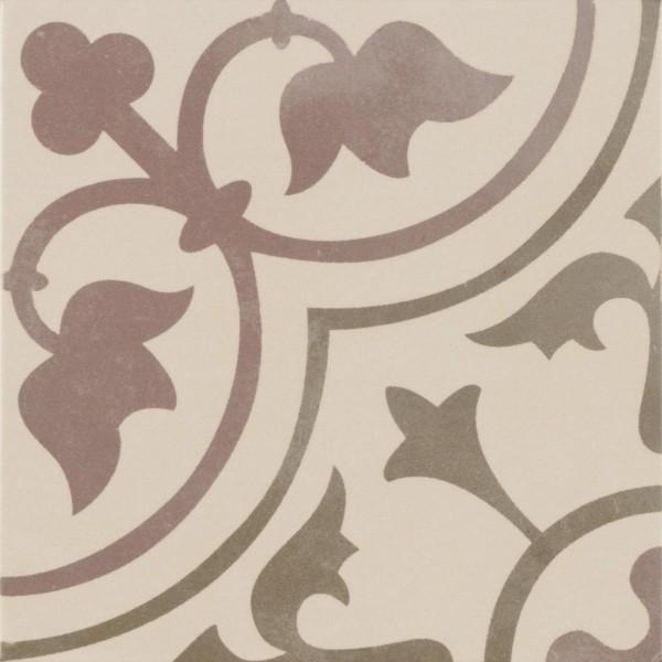 Bodenfliese Pamesa Arte Corot grau-rot 22,3 x 22,3 cm