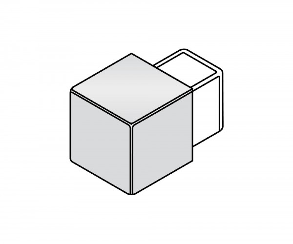 Eckstück Dural 9 mm Edelstahl Imitat LAC 970-B-DC