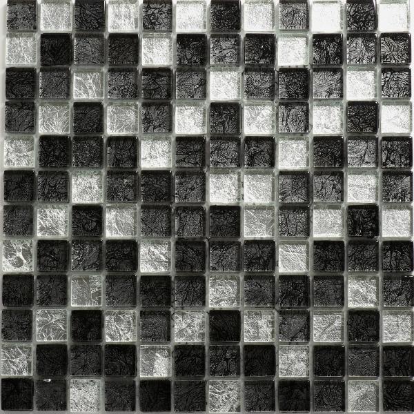 Mosaikfliese Inca schwarz silber 30 x 30 cm