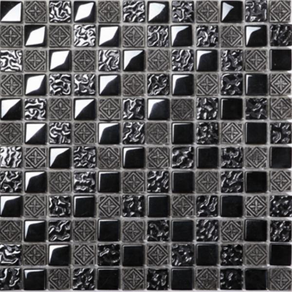 Mosaikfliese Fiori metall schwarz 30 x 30 cm