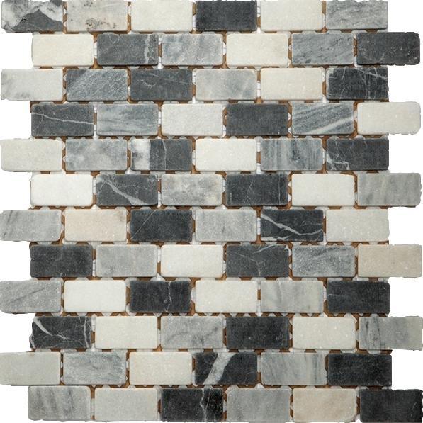 Mosaikfliese Nero Mix getrommelt 30,5 x 30,5 cm